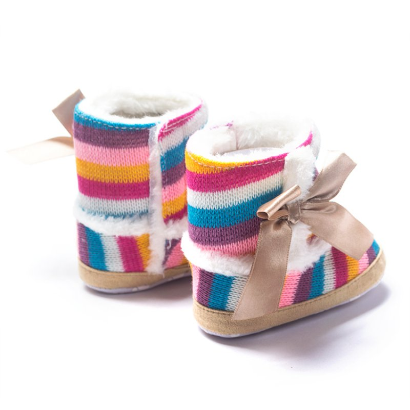 Newborn Baby Rainbow Wool Infant Cotton Padded Bow Knot Baby Shoes Snow Boots for Winter