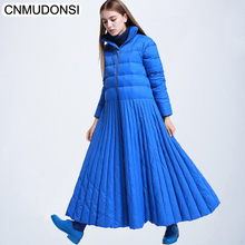 CNMUDONSI 2018 Autumn Winter Woman Stylish Long Sleeve Long Loose Spliced Hem Vertical Stripes