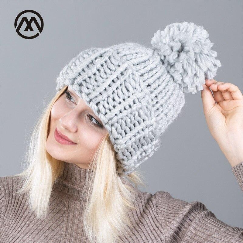 Wool fashion Winter   Beanies   Warm Hat Unisex Warm Soft Skull Knitting Cap Hats Coarse For Men Women Crochet Caps