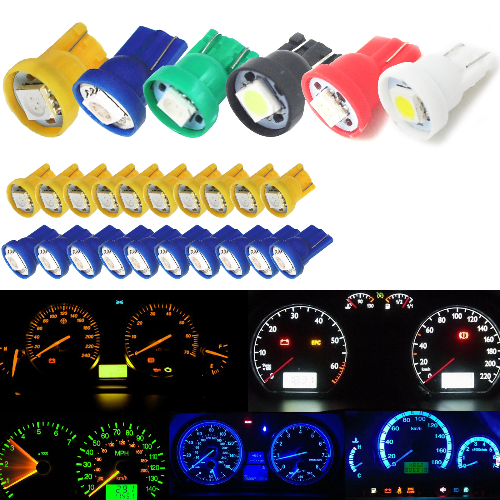 10pcs  Wedge 5050 SMD Car LED Gauge Cluster Lights 147 152 Speedometer Lamps M8617