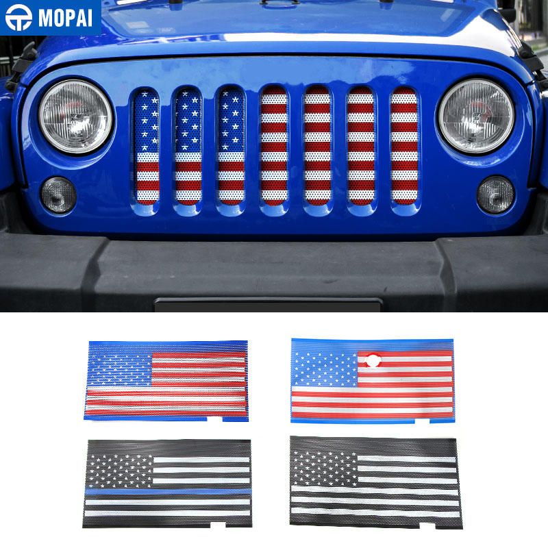 MOPAI Metal Car Exterior USA Flag Insect Nets Mesh Grille Decoration Cover For Jeep Wrangler 2007 Up Car Styling