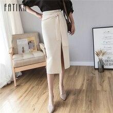 FATIKA, весна-лето, Женская однотонная плиссированная юбка на шнуровке, высокая талия, сексуальная элегантная юбка до середины икры