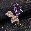 Известный бренд фиолетовый кристально брошь женщины - класс корсаж пен корейской ретро цветы природный аметист женщин девушки ювелирные изделия знак