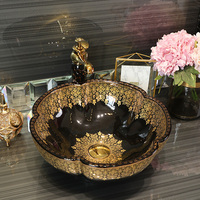 Flower shape Jingdezhen factory directly ceramic hand painted hand wash basin bathroom sinks black with gold pattern LO613424