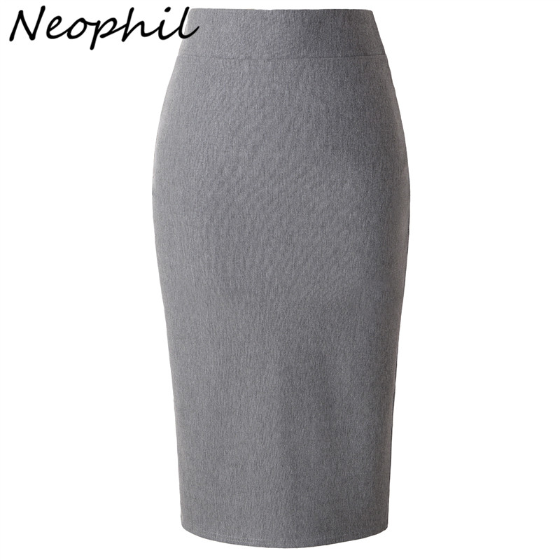 Neophil 2019 Winter Knitted Pencil Midi Pencil Skirts Solid High Waist Slim Black Office Ladies Elegant Work Skirts Saia S0905