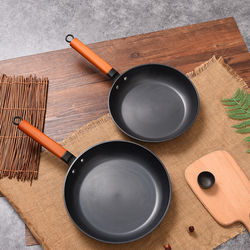 Healthy Uncoated Non-stick Pan Western Kitchen No Fume Frying Pan Ast Iron Pan Grill Non Stick Pan Korean Cookware For Table