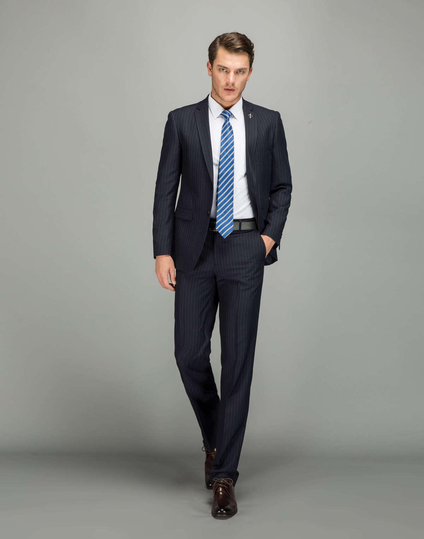 ff1eb008189 Wool Pinstripe Suits Men Dark Blue Business Party Dress Suit for Men Plus  Size Casual Tuxedo Men s Suits XS-4XL CD50