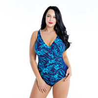 8XL Plus Size Women Strappy Swimsuit Large Size One Piece Printed Swimwear Female Seaside Swimsuit Bathing Swimming Wear 2019