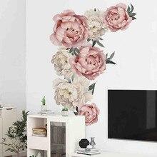 Горячая Распродажа, настенные наклейки с пионами и розами, художественные наклейки для детской комнаты, съемные обои для детской комнаты, домашний декор, Подарочная Наклейка на стену s