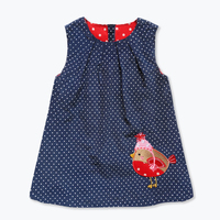 New Arrival Fall Toddler Vest Baby Girl Dresses Cute Chick Pattern Patch Flannel Dress For Girls