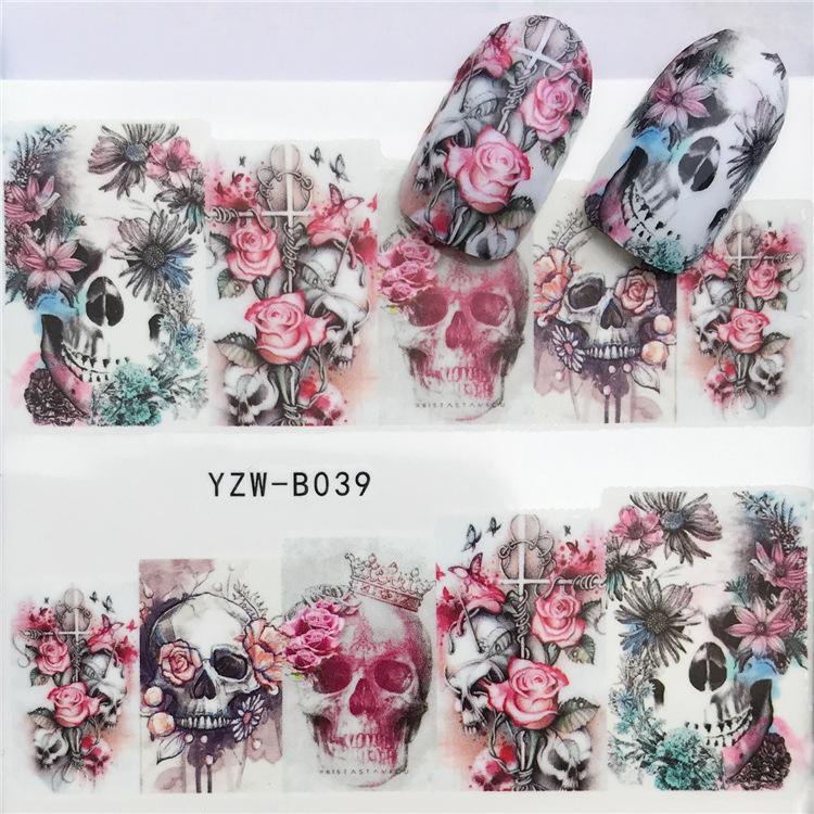 1 Sheet Water Transfer Nail Art Stickers Rose Skull Bones Designs Sliders For Nail Decals DIY Manicure YZW-B039