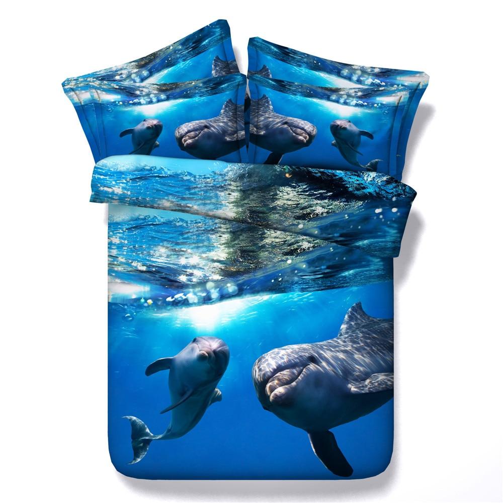 3d Sea Animal Dolphin Pattern 3 4pc Bedding Sets Duvet