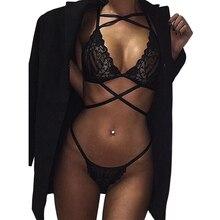Black Bra Sets of Women Sexy Lingerie Sleepwear Underwear Bra Set Nightwear Plunging V Lace Bralette Transparent Bra for Women