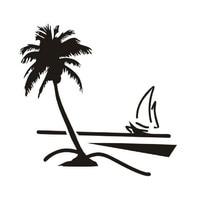 Hot Koop Verwijderbare Diy Muurschildering Behang Strand Kokospalm Zeilboot Muurstickers Woondecoratie