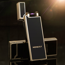 Ultra-thin Pulse Arc Lighter Metal Novelty USB Rechargeable Windproof Smokeless Electric Lighters Gadgets for Men cakmak