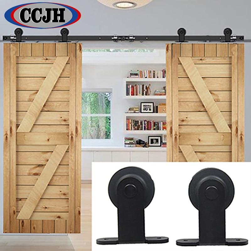6ft / 8ft / 10ft / 12ft / 13ft / 15ft / 16ft Double Door Sliding Barn Door  Rustic Black Sliding Kit Hardware In Doors From Home Improvement On ...