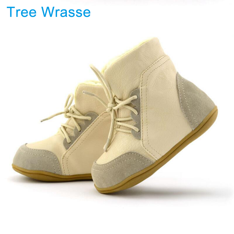 Children's leather boots girls snow boots Tree Wrasse 2017 new fashion winter children's shoes non-slip warm cotton boots