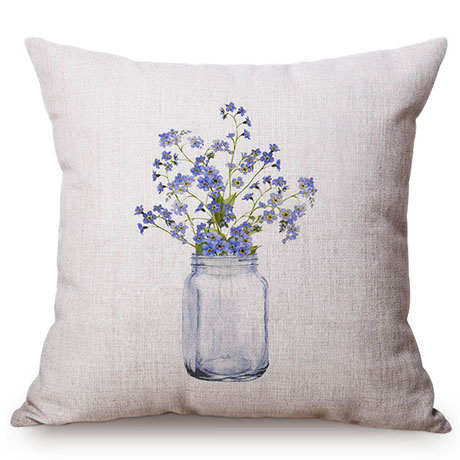 Colorful Nordic Floral Vase Glass Jar Home Sofa Small Fresh Decorative Cushion Cover Chic Purple Flower Cotton Linen Pillow Case M109-3