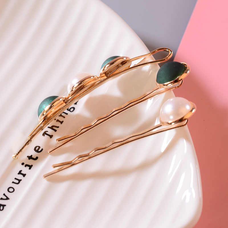 3 Pcs/1 Set Korea Fashion Rambut Aksesoris Tombol Imitiation Mutiara Rambut Klip Logam Jantung Kristal Bintang Jepit Rambut Jepit