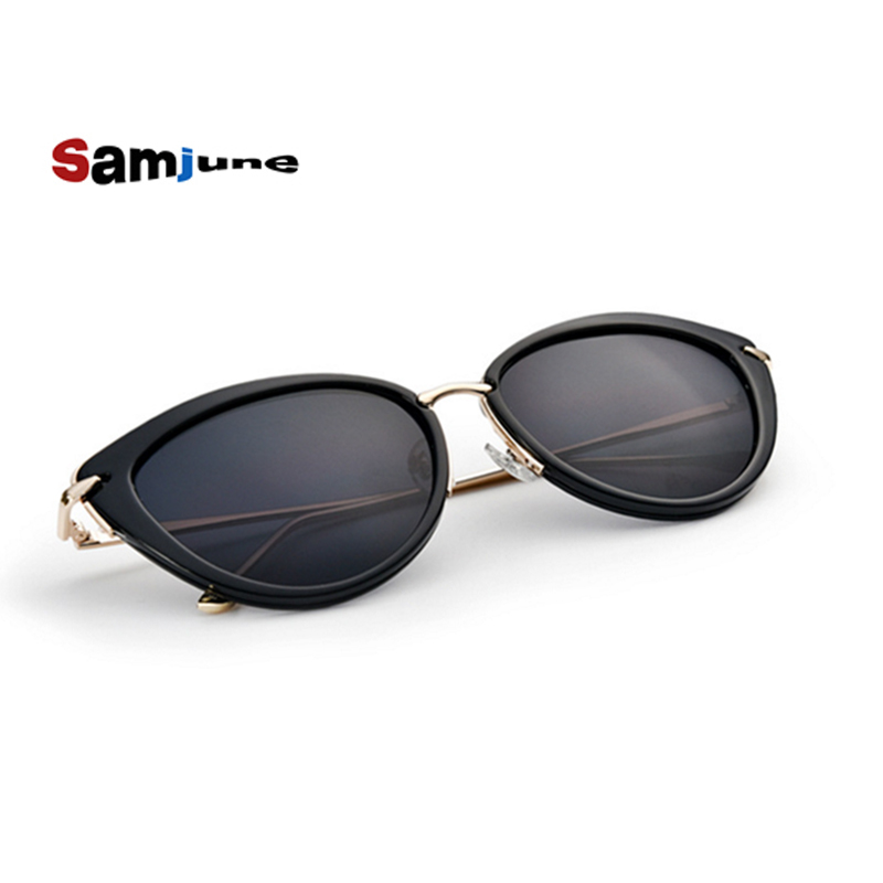 e3e7450e8e Samjune moda nuevas gafas de sol del ojo del gato aleación templo espejo  lente marca diseñador oculos gafas de sol feminino