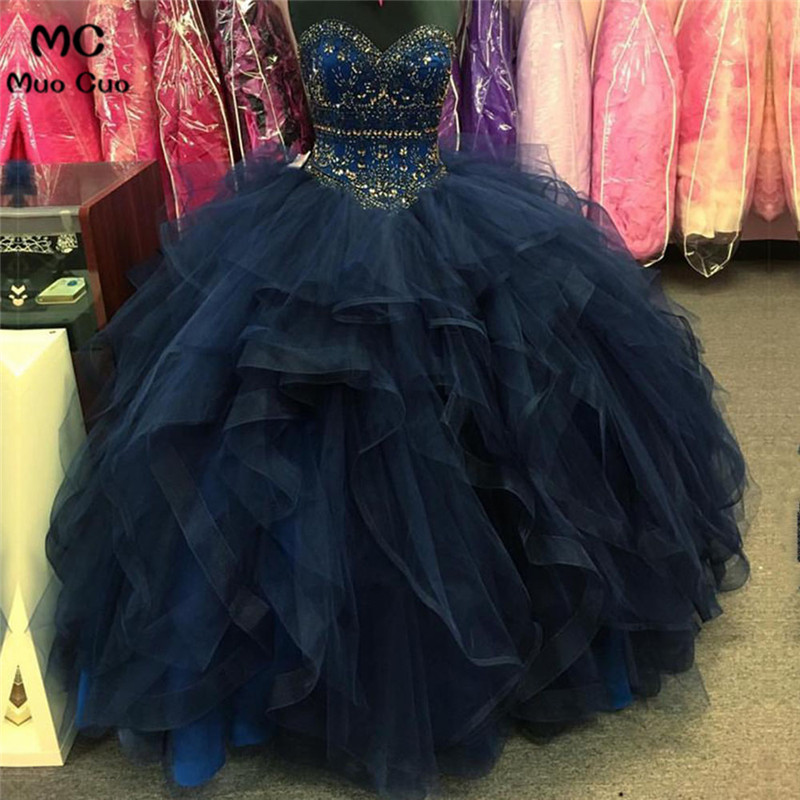 2018 Navy Blue   Prom     dresses   Long with Crystals Ball Gown Organza Ruffles graduation   dresses   Evening   Prom     Dress   for Women