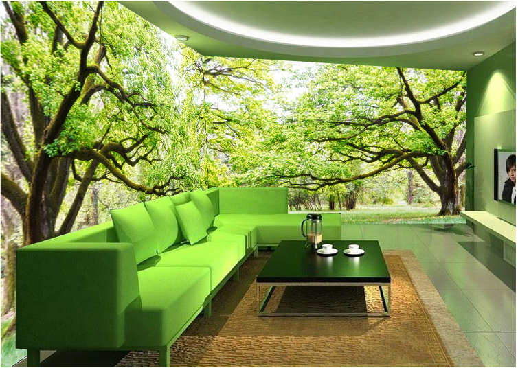 Trees Wallpaper Landscape Mural Office Theme Hotel Restaurant Living Room Bedroom Green Tree Forest