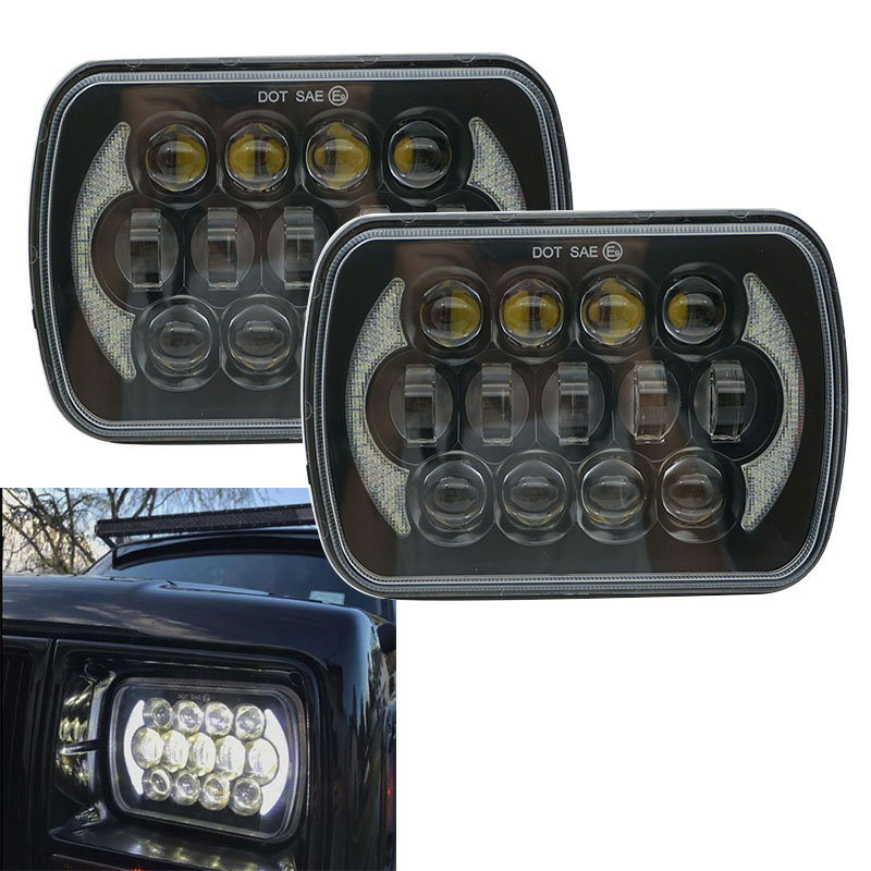 Black/Chrome 5x7 inch Rectangle projector led headlights for Jeep Wrangler YJ Cherokee XJ H6054 H5054 H6054LL 69822 6052 6053 5 x7 6 x7 high low beam led headlights for jeep wrangler yj cherokee xj h6054 h5054 h6054ll 69822 6052 6053 with angel eye