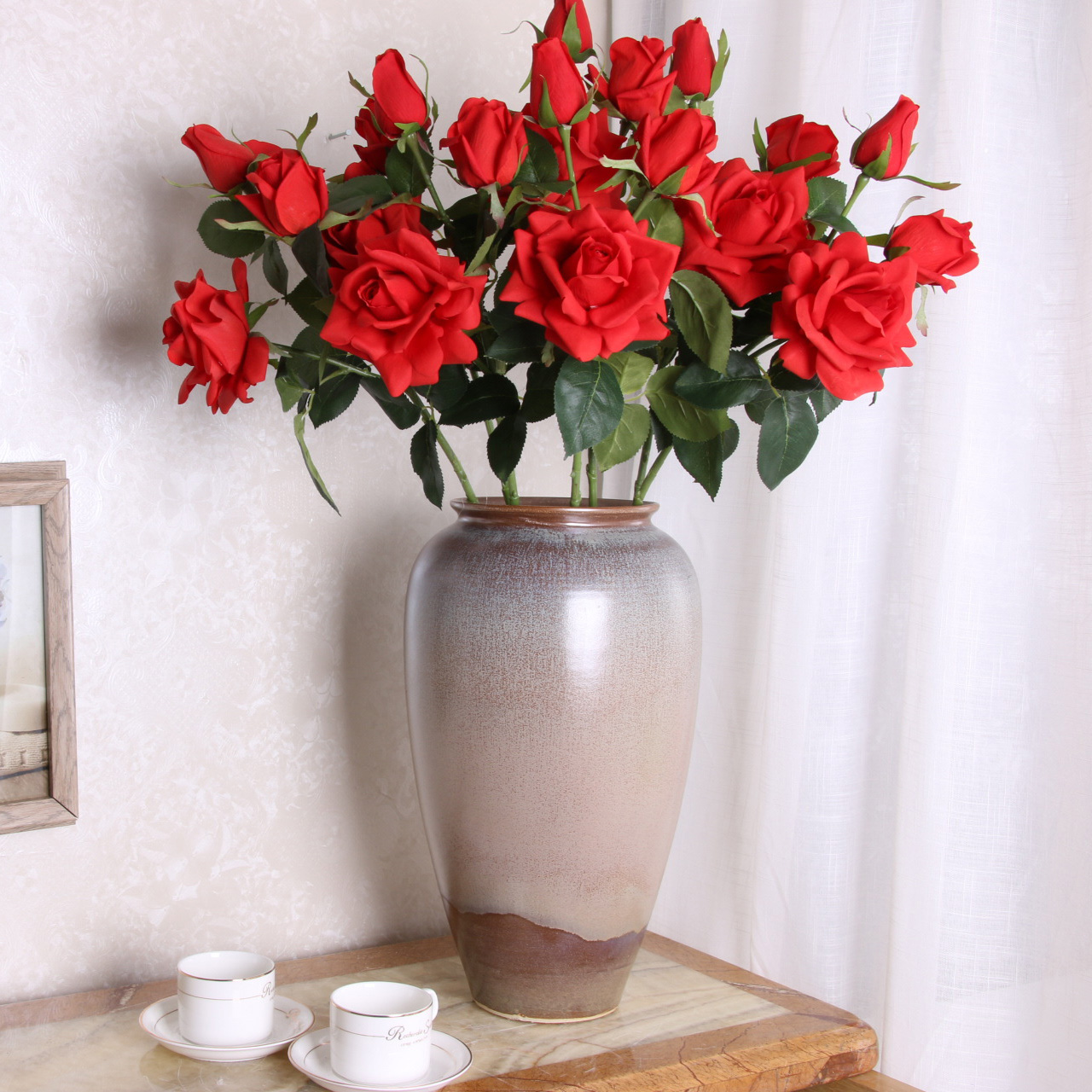 Artificial Red Roses Fake Flowers For Home Decoration