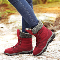 2019 Winter Ankle Snow Boots Women Warm Plush Fur Boots Lace Up Outdoor Rubble Half Boots Nice Red Boots For Women Size 42