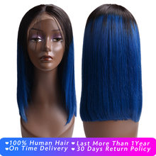 Full End Blue Short Bob Wigs 613 Blonde Lace Front Wigs for Black women Brazilian Remy Hair Natural Hairline 150% Density(China)