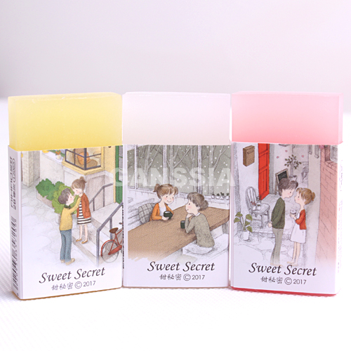 3pcs/lot Kawaii Sweet Secret Series Erasers Colorful Pencil Rubber Eraser Office Material School Stationery Supplies (ss-1460)