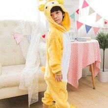 Медведь Rilakkuma Пижамный костюм дети животных Onesie зимние фланелевые  пижамы с капюшоном Аниме Kigurumi косплэй вечерние парт. 2f1fcd1d452c9