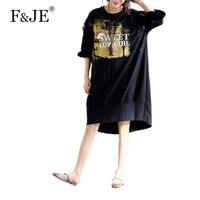 F & JE 2017 Estate Nuovo Stile Coreano Top quality Big Size abbigliamento donna rappezzatura del merletto manica corta allentato casual lungo dress J992