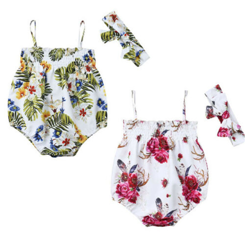 Newborn Baby Girl Clothing Floral Sets Cute Sleeveless Sling Bodysuit Bow Headhand Flowers 2Pcs Baby Girl Summer Outfits 3-18M