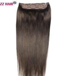 """ZZHAIR 200 г-100 г 16 """"-28"""" машина сделано remy волос один кусок набор 5 клип в 100% человеческих волос для наращивания Натуральные Прямые Волосы"""