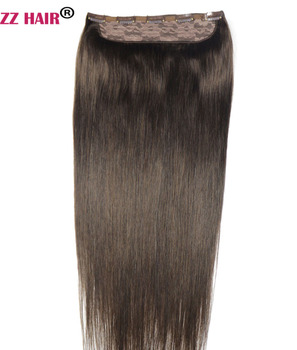"ZZHAIR 100g-200g 16""-28"" Machine Made Remy Hair One piece Set 5 Clip-in 100% Human Hair Extensions Natural Straight Hair"
