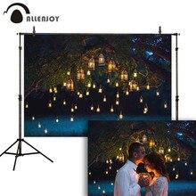 Allenjoy การถ่ายภาพฉากหลัง Night คู่แต่งงาน VINTAGE Glitter เทียนต้นไม้ภาพพื้นหลัง photophone photocall ยิง props