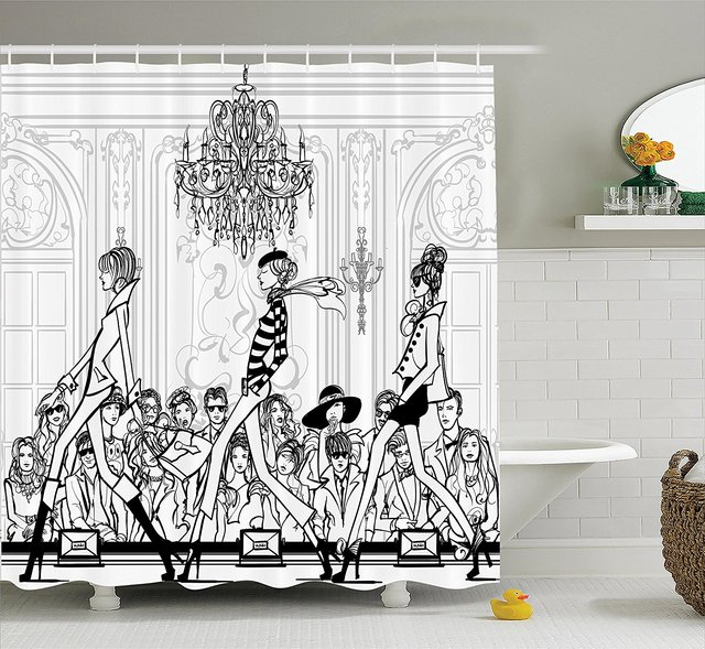 Girly Shower Curtain Set Fashion Show With Catwalk Mannequins And Audience Supermodel Human Crowd Illustration Bathroom