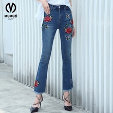MUMUZI 2017  Embroidered Mid Waist Big Flared Jeans Female Boot Cut Embroidery Lace Bell Bottom Jeans Denim Trousers