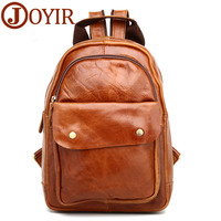 New Arrival Genuine Leather Men Backpack Woman Cowhide Leather Causal Backpack Vintage Style Travel Bags For