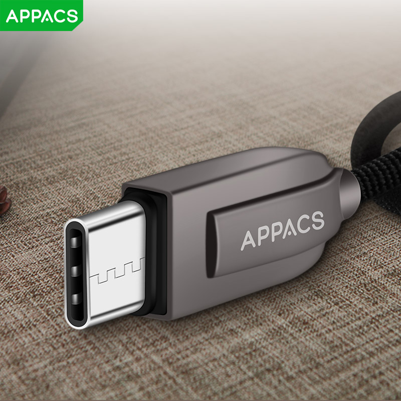 APPACS for Xiaomi 6 USB Type C Cable UBS-C 2.4A Fast Charging Type-C Cable Sync Data Cable for Samsung Note 8/S8 Nexus 6P 5X