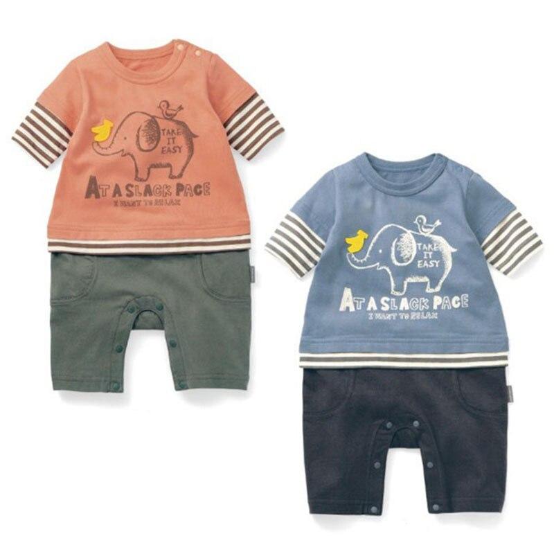 3-24M Baby Rompers Bomuldssøm Tøj Print Elefant Dyremønster Halværmet Crawling Tøj 2 farver 1 sæt HB067