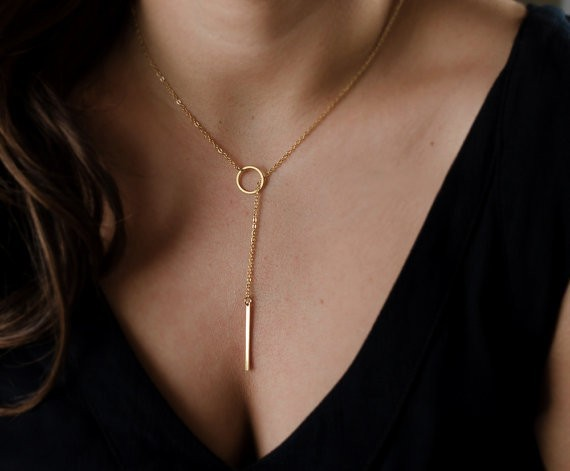 Nouveau Dainty or colliers pendentifs minimaliste Simple collier cercle avec barre Long collier