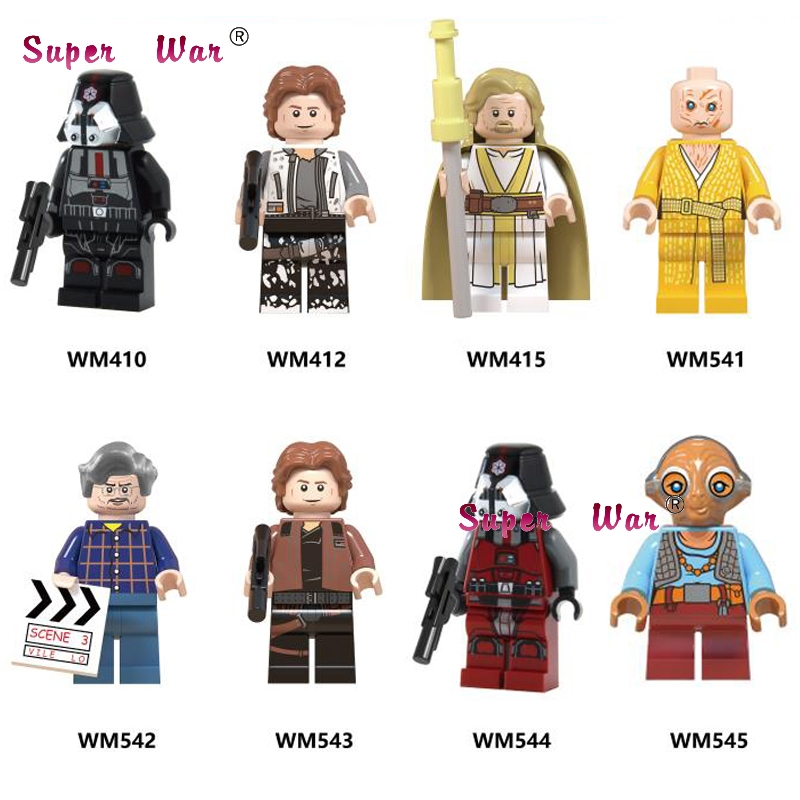 50pcs George Lucas Han Solo Sith Luke Skywalker Maz Kannata Snoke building block for children toy