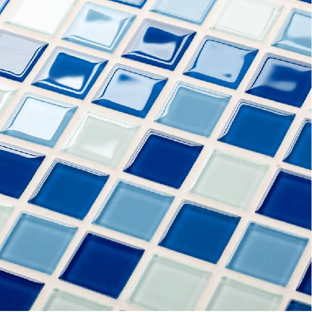 crystal glass mosaic tiles blue white cheap kitchen backsplash tile