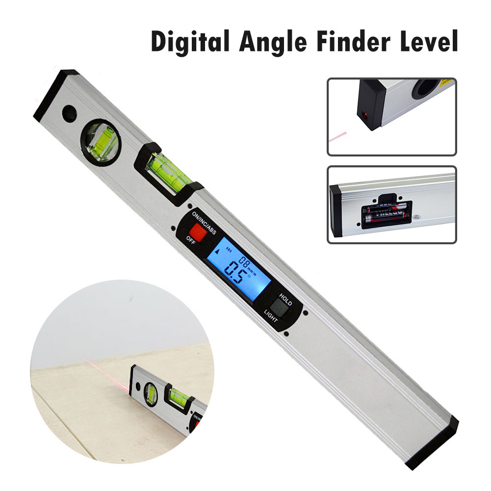 400mm High Precision Digital Angle Finder Level 360 Degree Range Spirit Level Upright Inclinometer with Magnets Protractor Ruler high precision digital display angle ruler pro360 waterproof angle instrument inclinometer digital display level 360 degree