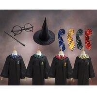 Халат Костюм с жакетом галстук шарф палочка очки Ravenclaw Гриффиндор Хаффлпафф Слизерин костюмы для косплея Харрис Поттер косплэй