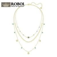ROBOL New Woman Jewellery Swa LAST SUMMER LAYERED Devil's Eye Charm 3 Laps Necklace 5368029 Fine Jewelry