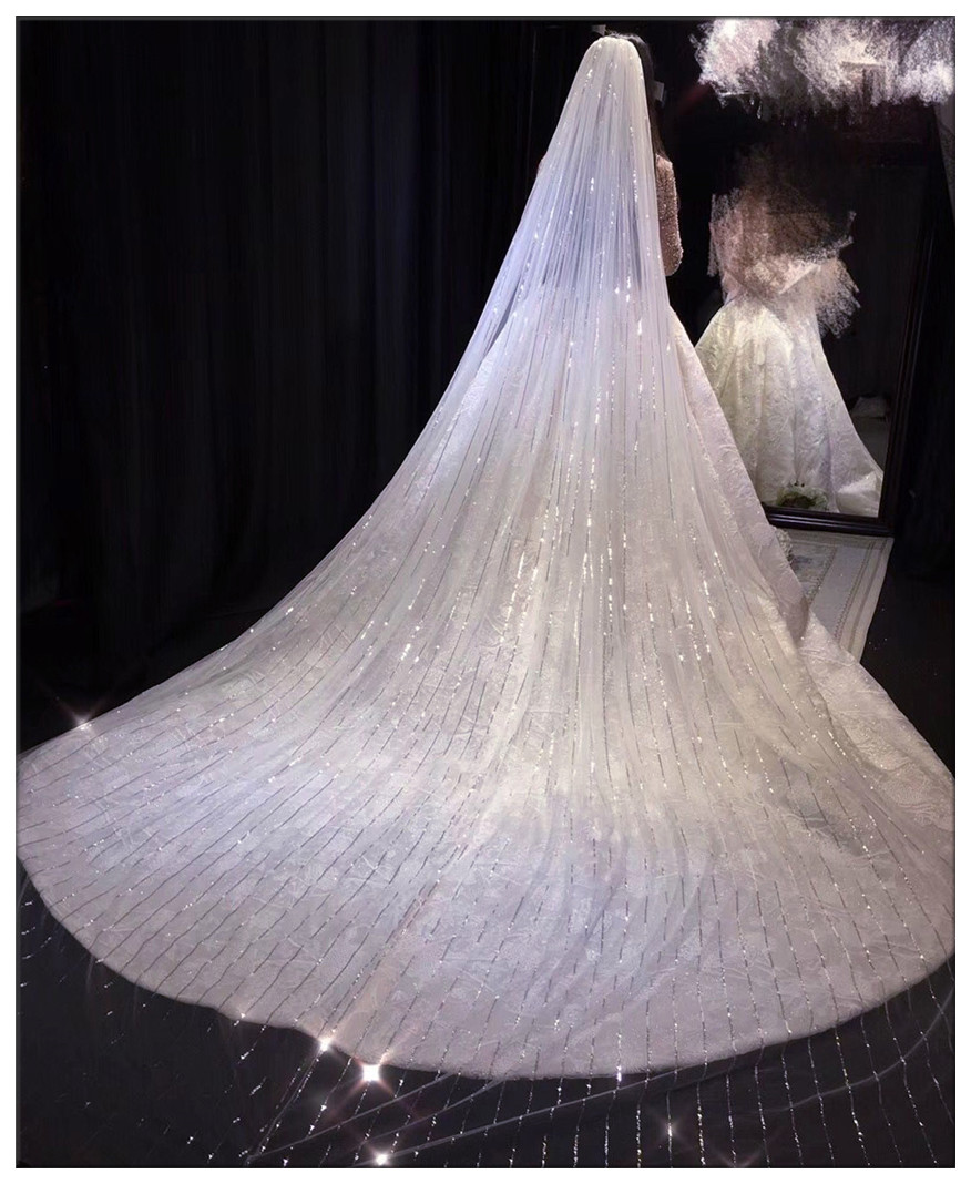 3.5 Meters Full Edge With Lace Bling Sequins One Layers Long Wedding Veil With Comb White Ivory Bridal Veil 2019