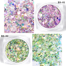 12 Boxes Laser Nail Glitter Mixed Glitters Styles Multi-color Powder Sequins For Art PT59